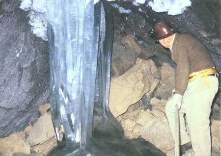 ice stalagmites and stalactites meet
